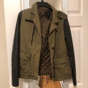 Forever 21 Olive Green & Black Cargo Moto Jacket